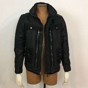 ZARA man black Trucker Moto Jacket size L Large